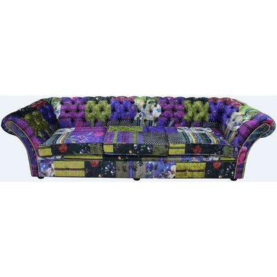 Chesterfield Balmoral Patchwork 4 Seater Sofa Settee London Multi Velvet - DESIGNER SOFAS 4 U