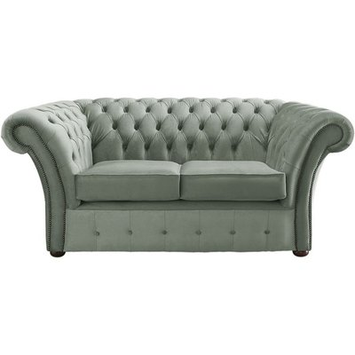 Designer Sofas 4 U - Chesterfield Balmoral Velvet Fabric Sofa Malta Seaspray Blue 2 Seater