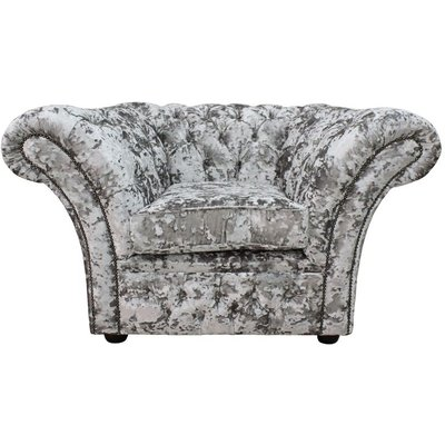 Designer Sofas 4 U - Chesterfield Blenheim Armchair Lustro Argent Velvet