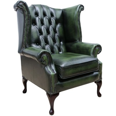 Designer Sofas 4 U - Chesterfield Georgian Queen Anne Wing Chair Antique Green Leather
