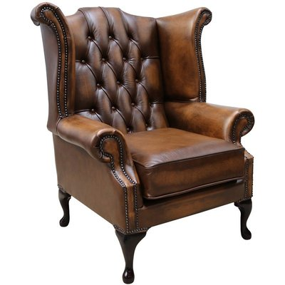 Designer Sofas 4 U - Chesterfield Georgian Queen Anne Wing Chair Antique Tan Leather