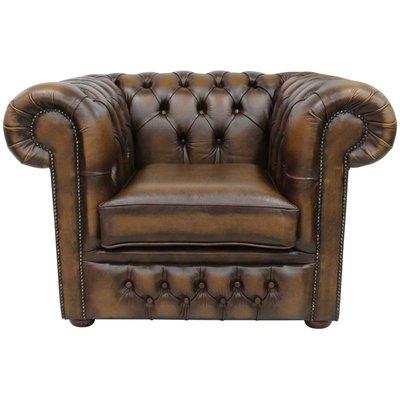 Designer Sofas 4 U - Chesterfield Heaton Low Back Club ArmChair Antique Tan Leather