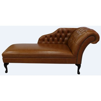 Designer Sofas 4 U - Chesterfield Leather Chaise Lounge Day Bed Old English Bruciato