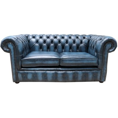 Designer Sofas 4 U - Chesterfield Loveseat Antique Blue Leather Sofa
