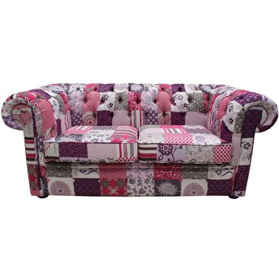 Designer Sofas 4 U - Chesterfield Patchwork Fiesta 2 Seater Settee fabric Sofa Offer