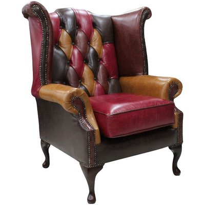 Designer Sofas 4 U - Chesterfield Patchwork Queen Anne Wing Chair Old English Leather