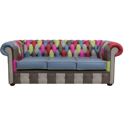 Designer Sofas 4 U - Chesterfield Patchwork Vele 3 Seater Settee Leather Sofa Offer