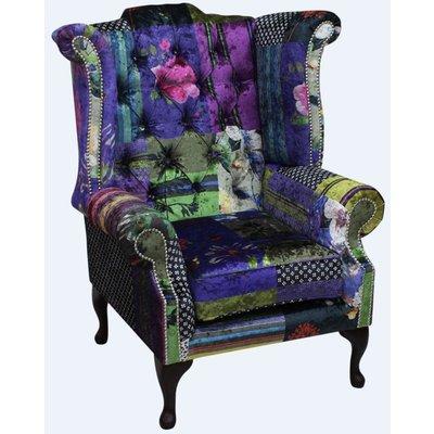 Chesterfield Patchwork Velvet Queen Anne London Multi Wing Chair - DESIGNER SOFAS 4 U