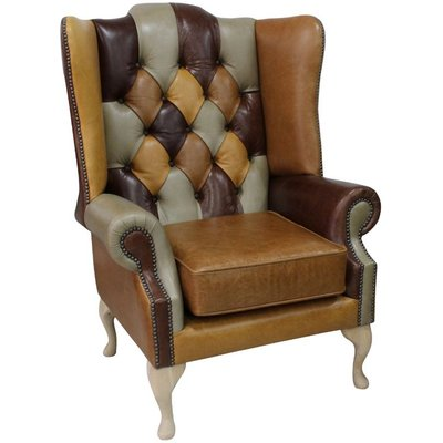 Designer Sofas 4 U - Chesterfield Prince's Patchwork Old English Leather Wing Chair