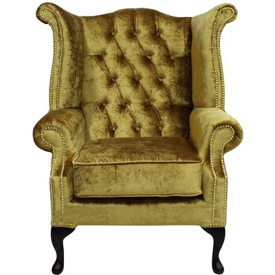 Designer Sofas 4 U - Chesterfield Queen Anne High Back Wing Chair Boutique Gold Velvet
