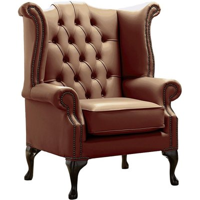 Designer Sofas 4 U - Chesterfield Queen Anne High Back Wing Chair Shelly Castagna Leather