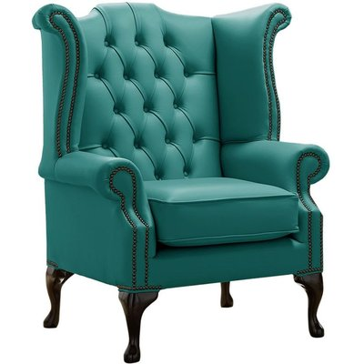 Designer Sofas 4 U - Chesterfield Queen Anne High Back Wing Chair Shelly Dark Teal Leather