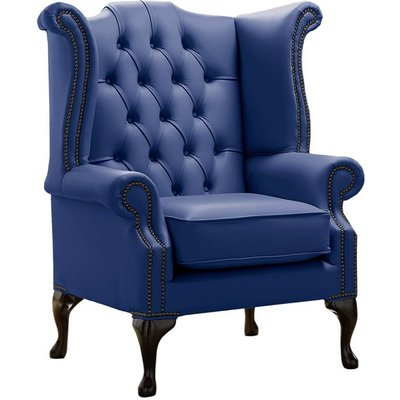 Designer Sofas 4 U - Chesterfield Queen Anne High Back Wing Chair Shelly Deep Ultramarine Blue Leather