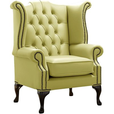 Designer Sofas 4 U - Chesterfield Queen Anne High Back Wing Chair Shelly Field Green Leather