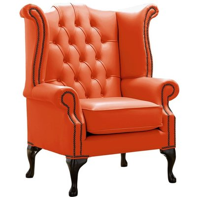 Designer Sofas 4 U - Chesterfield Queen Anne High Back Wing Chair Shelly Flamenco Leather