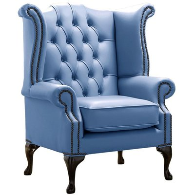 Designer Sofas 4 U - Chesterfield Queen Anne High Back Wing Chair Shelly Iceblast Leather