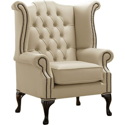Designer Sofas 4 U - Chesterfield Queen Anne High Back Wing Chair Shelly Ivory Leather