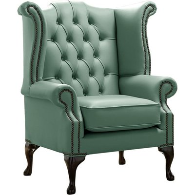 Designer Sofas 4 U - Chesterfield Queen Anne High Back Wing Chair Shelly Lichen Leather