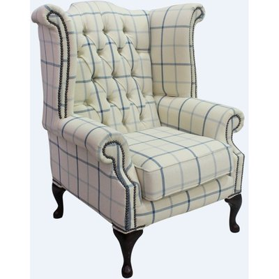 Designer Sofas 4 U - Chesterfield Queen Anne Wing Chair High Back Armchair Piazza Square Check Blue Fabric