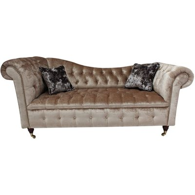 Chesterfield Regency Chaise Sofa 2 Seater Shimmer Mink Velvet