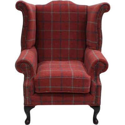 Designer Sofas 4 U - Chesterfield Saxon Queen Anne Wing Chair High Back Armchair Lana Square Check Terracotta Fabric