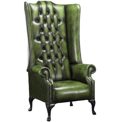 Designer Sofas 4 U - Chesterfield Soho 1780's Leather High Back Wing Chair Antique Green