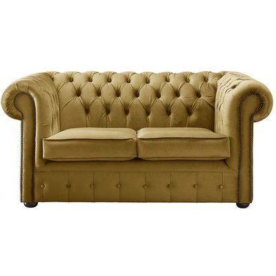 Designer Sofas 4 U - Chesterfield Velvet Fabric Sofa Malta Gold 2 Seater