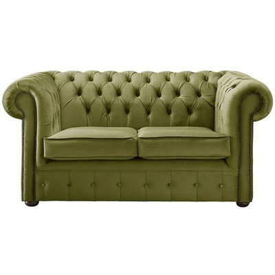 Designer Sofas 4 U - Chesterfield Velvet Fabric Sofa Malta Grass Green 2 Seater