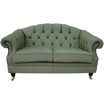Designer Sofas 4 U - Chesterfield Victoria 2 Seater Leather Sofa Settee Pea Green Leather