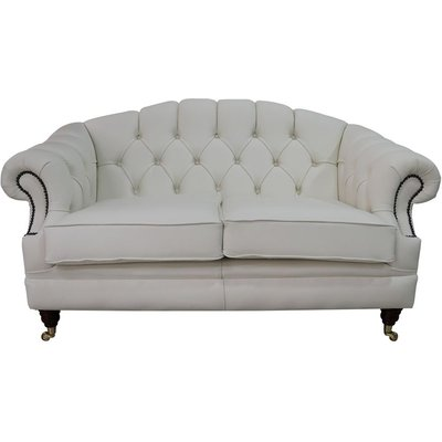 Chesterfield Victoria 2 Seater Leather Sofa Settee White Leather - DESIGNER SOFAS 4 U