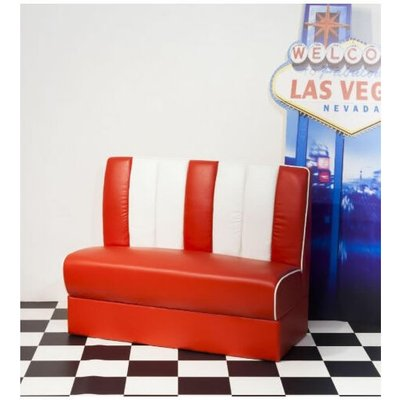 Chicago Retro 50'S Style Booth Chair Bench Seating Red And White Padded Seat And Back - NETFURNITURE