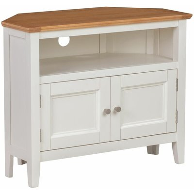 Clifton Oak Off White Painted Small Corner TV Stand with 2 Doors | Compact Media Cabinet | Entertainment Table | Wooden Television Unit