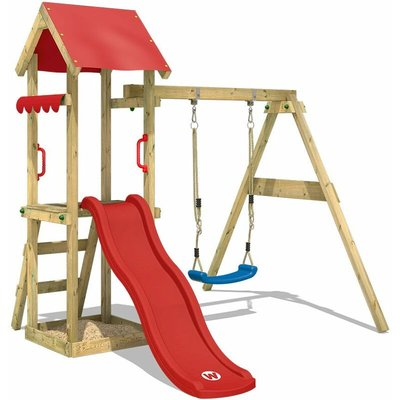 WICKEY SUPERSALE Wooden climbing frame TinyWave with swing set and red slide, Garden playhouse with sandpit, climbing ladder & play-accessories