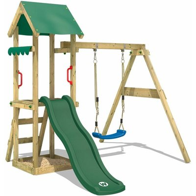 Wooden climbing frame TinyWave with swing set and green slide, Garden playhouse with sandpit, climbing ladder & play-accessories - Wickey