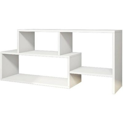 Clover TV Stand - with Shelves - for Living Room - White, made in Wood, 121,8 x 30 x 53,8 cm - HOMEMANIA
