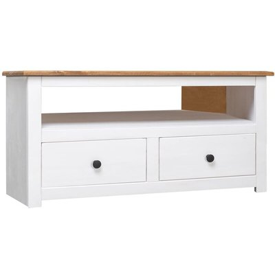 Corner TV Cabinet 93x49x49 cm Solid Pine Panama Range White - VIDAXL