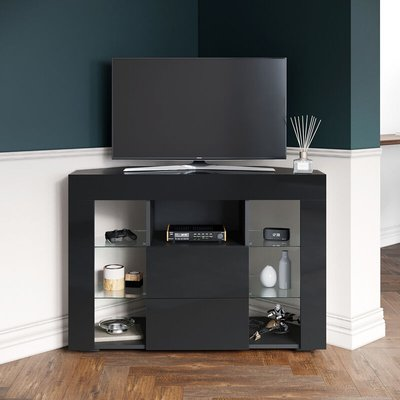 Corner TV Stand Black Unit High Gloss Cabinet with LED Lights 2 Drawers