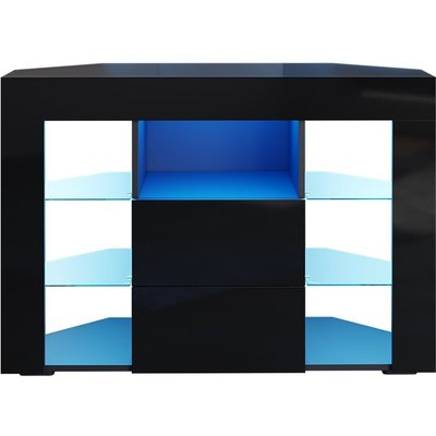 Corner TV Unit Stand High Gloss Cabinet with LED Lights Drawers Storage Black
