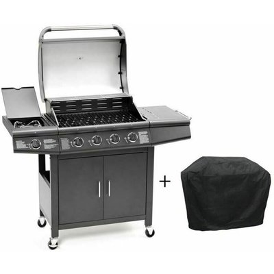 CosmoGrill 4+1 Pro Gas BBQ Barbecue Grill Inc. Side Burner- 93411 with cover - COSMOGRILL ™