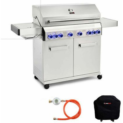 """Cosmogrill â""""¢ - CosmoGrill Barbecue 6+2 Platinum Stainless Steel Gas Grill BBQ (Silver With Cover)"""