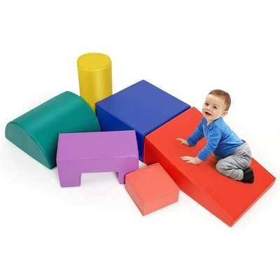 6 Pieces Kids Climb and Crawl Foam Play Set, Baby's Soft Climbing Blocks for Toddlers, Preschoolers (primary) - Costway