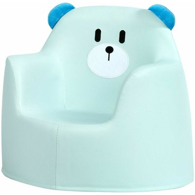 COSTWAY Kids Sofa, Bear Cartoon Armchair with Integrated Foam and PU Surface, Children Chair