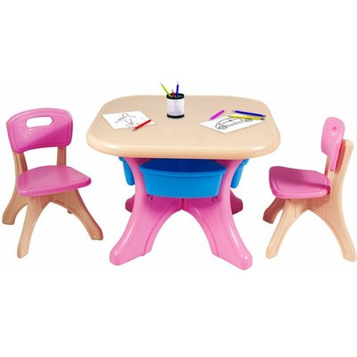 Kids Table and Chairs Set Children Activity Art Table Chairs Storage Bins Pink - Costway