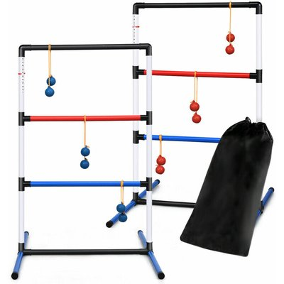 Ladder Toss Game Set, Indoor Outdoor Ball Toss Game with 6 Bolos, Carrying Bag, Built-in Score Tracker, Garden Throwing Game Set for Kids Adults