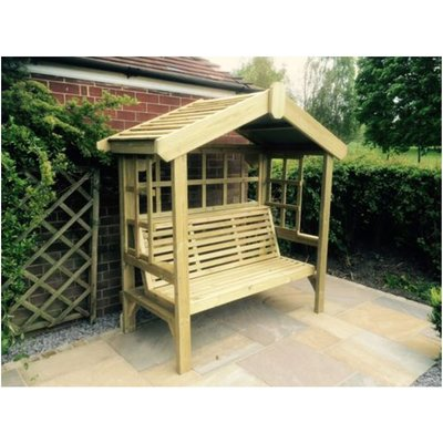 Cottage Arbour - Trellis Back And Sides, wooden garden bench seat with trellis - CHURNET VALLEY