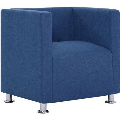 Cube Armchair Blue Fabric - VIDAXL