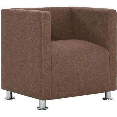Cube Armchair Brown Fabric - VIDAXL