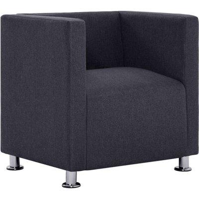 Cube Armchair Dark Grey Fabric - VIDAXL