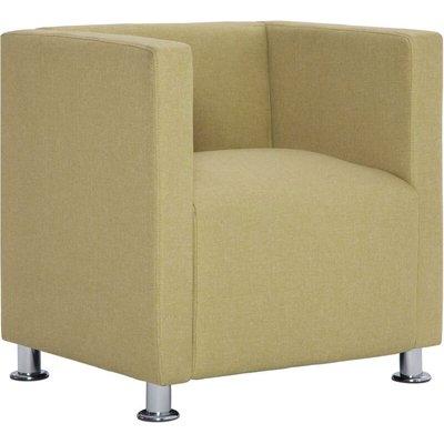 Cube Armchair Green Fabric - VIDAXL