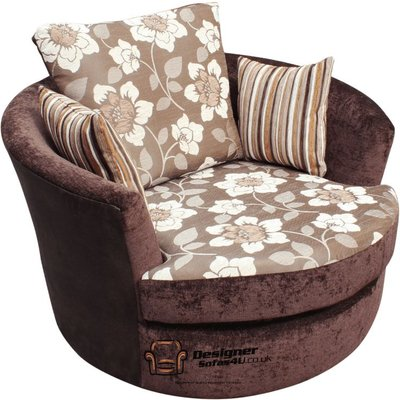 Cuddler Swivel Chair | Snuggle Swivel Armchair Argent Brown Fabric - DESIGNER SOFAS 4 U